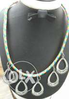 Multi colored leather necklace