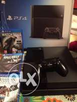 ps4 500 GB used with 3 games watch dogs, assassins creed,call of duty