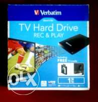 HDD 1Tb. Verbatim like new working with lcd & Pc. Too