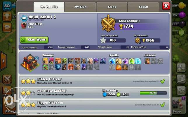 Town hall level 10Wall level 7