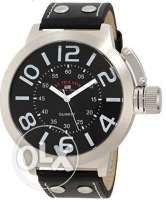 U.S. Polo Assn. Classic -Tone Watch with Black Faux Leather Band