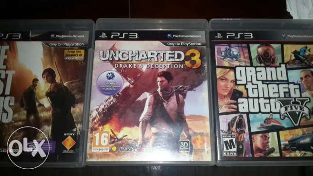Gta v, uncharted 3, lasf of us. ps3 cds