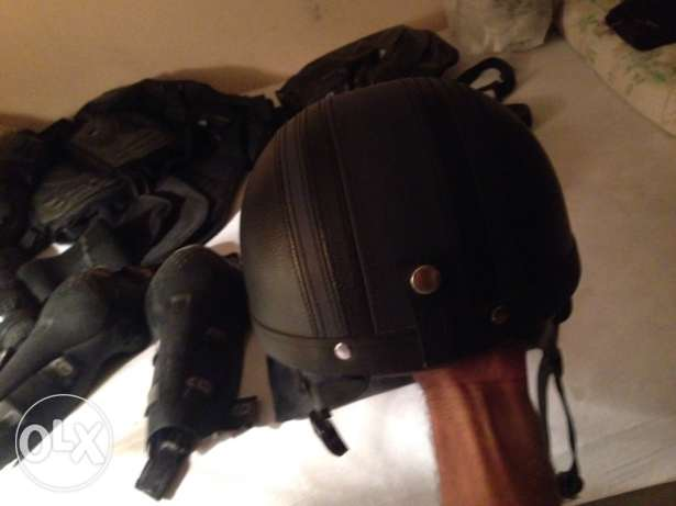 black leather helmet half