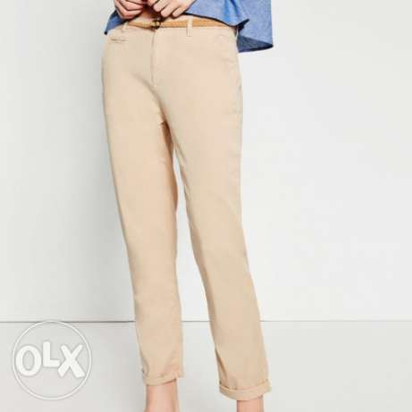 New Original Zara Women Chino Pants. Size 32. Beige & Navy Blue