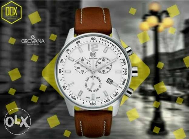 DOX grovana black/brown leather strap + Elliet priceless free الشيخ زايد -  2
