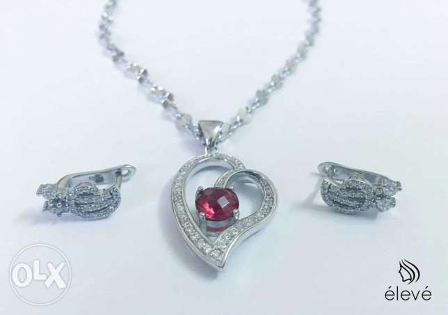 New silver set 925 ,ring and chain with pendant
