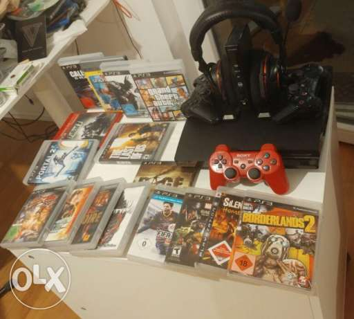 Playstation 3 Slim + 26 games + 3 Controllers +Wireless Gaming Headset مصر الجديدة -  2