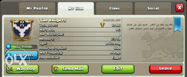 Clan level 10. at clash of clans