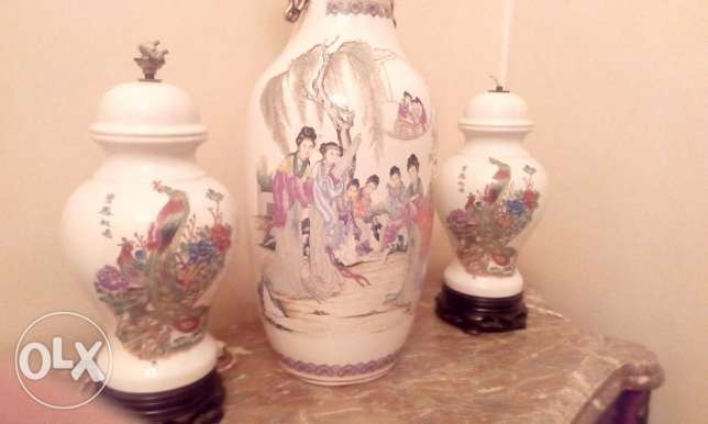 Two-Chinese Hand Painted Porcelain Vase As a Lamp LE 3750 (EAC H)