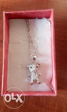 Silver teddy bear necklace المعادي -  1