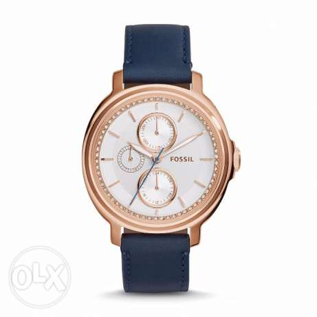 Chelsey Multifunction Silver Dial Navy Blue Leather Ladies Watch