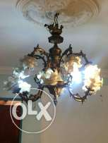very old brass chandelier from 1957 around 45 kg for 2700
