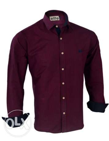 Elite Dark Red Cotton Shirt Neck Shirts For Men قميص قطن نبيتي