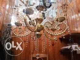 new chandlerier by light crystal golden 5 lamps