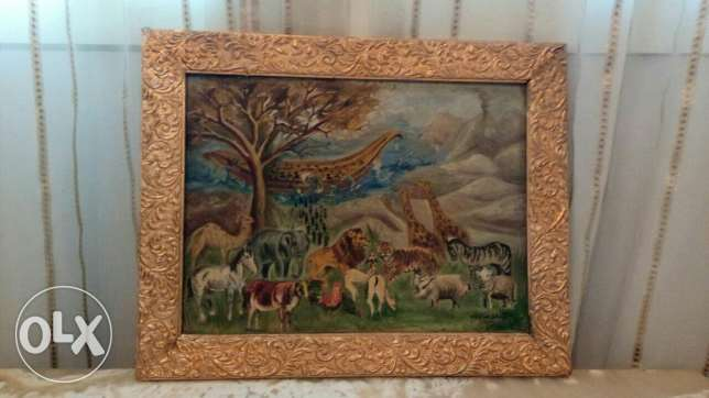 old oil signed tableau 50 x40 from 1953 by artest ebthag abd el ra