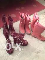 Pink and purple rain boots size 29 and size 27