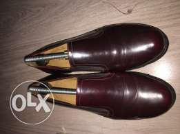 maroon natural leather shoes