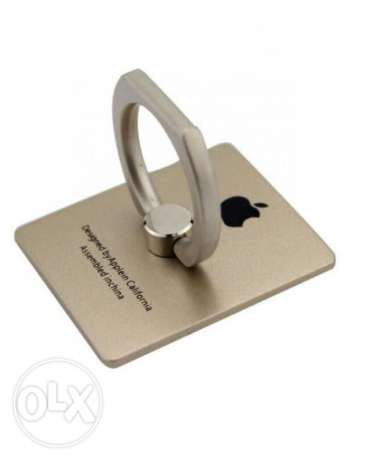 Generic Mobile Phone Ring Holder with iPhone Logo - Gold