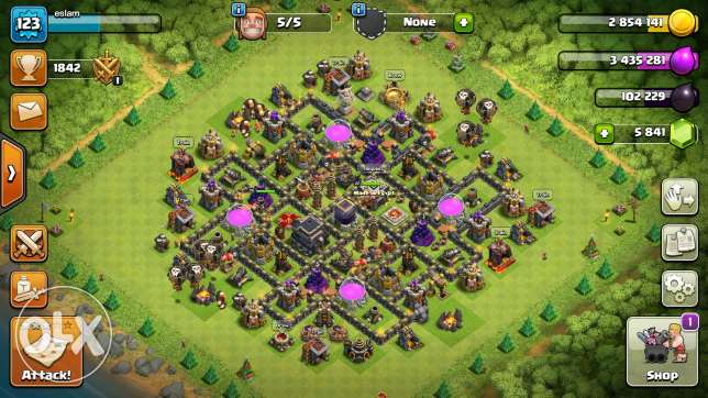 Clash of clans account townhall 9 max