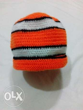 Adult male crochet ice-cap Nemo style colors ايس كاب كروشيه رجالى