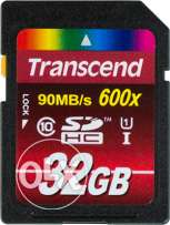Transcend 32GB SDHC Class 10 600x Up to 90MB/s