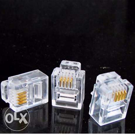 50 pieces 4 Pin RJ11 Telephone Jack Connector Clear DT