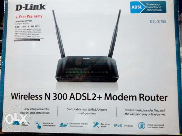ضمان سنتين router D-Link wireless n300 adsl2 + modem router