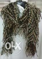 Brown dark green winter scarf
