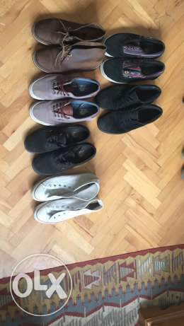 men's vans shoes, converse, Clark's desert boot and Fred perry