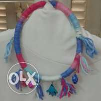 Pinky wool colored necklace