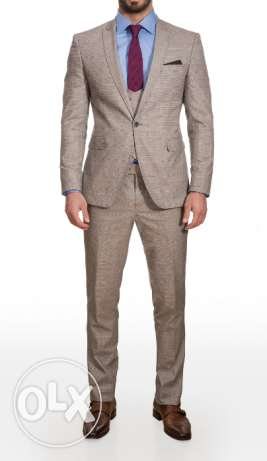 Italian Slim Fit Checked Beige and Blue Suit