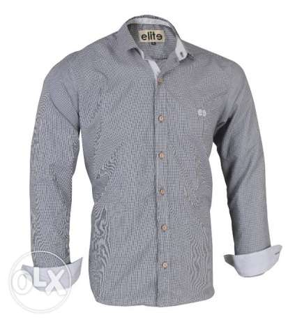 Elite Grey Cotton Shirt Neck Shirts For Men قميص قطن رجالي لون جراي