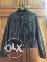 Dark brown leather coat for sale