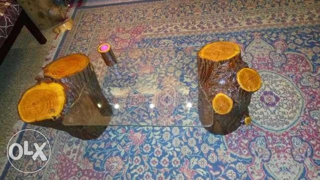 Natural Jungle wood glass table طنطا -  4