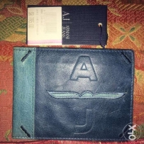 wallet armani jeans leather geniun made in italy جلد محفظة ارماني