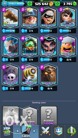 Clash Royale Account for Sell, Arena 11, 525,000 Gold, 3750 Gems.