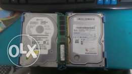 2 Hard 250 GB + Ram 1 GB ddr2 for sell
