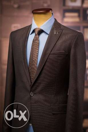 Slim Fit Birdseye Brown Suit