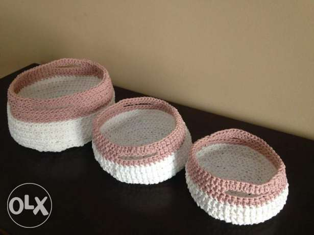 Handmade pink crochet baskets 3 sizes