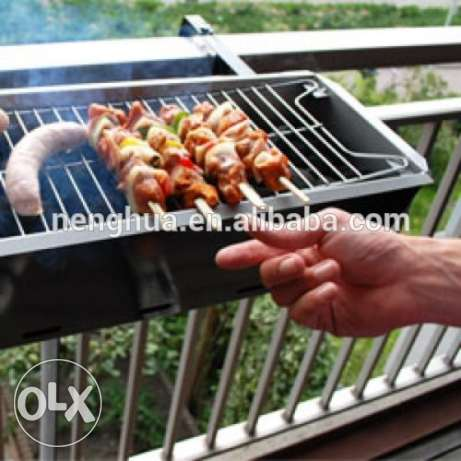 Balcony hanging barbeque grill