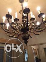 Old copper chandelier with very fine carvings in excellent condition