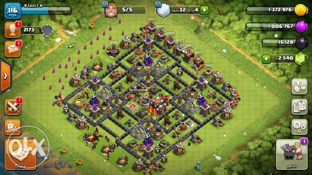 Clash of clans town lvl 9 max قرية كلاش اوف كلانس لفل ٩ ماكس