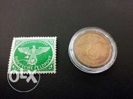 Rare - German 3rd Reich 1939 Coin and Stamp - Read Description