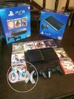 PS3 super slim 500GB with 2 controllers and 8 games