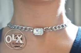 Handmade Crystal Choker in Silver Chain-Crystal Necklace - Accessories
