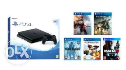 Ps 4 slim with 5 games (sealed)