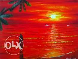 Oil painting, Red Sea Romantic