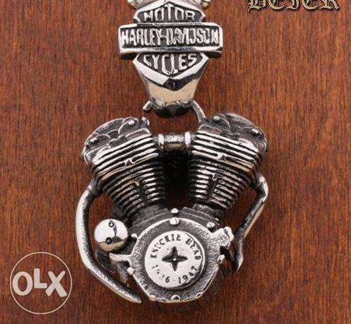 Detailed Harley Motor Necklace