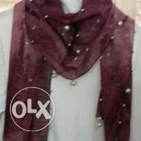 Dark purple scarf with small silver accessories