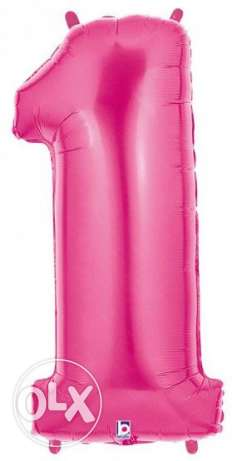 Pink Number 1 SuperShape Foil Balloon about 1 meter